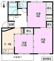 本城マンション B棟[4階]の間取り