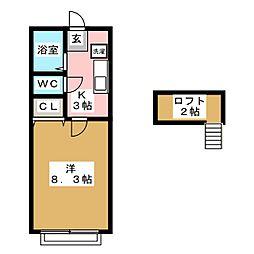 ホワイトキャッスル遠見塚9番館[2階]の間取り