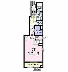 JR奥羽本線 山形駅 バス14分 山形警察署前下車 徒歩8分の賃貸アパート 1階1Kの間取り