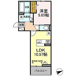 JR鹿児島本線 久留米駅 徒歩18分の賃貸アパート 2階1LDKの間取り
