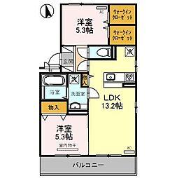 宮崎県宮崎市新栄町の賃貸アパートの間取り