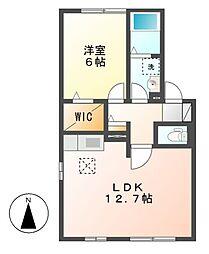 愛知県名古屋市中村区稲上町1丁目の賃貸アパートの間取り
