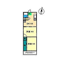 山崎マンション(鴨部)[3階]の間取り
