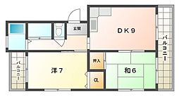浜田ハイツ[5階]の間取り