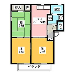 ノーブルハイツ B棟[1階]の間取り