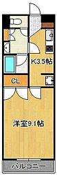 アヴィニールグランデ金田 6階1Kの間取り
