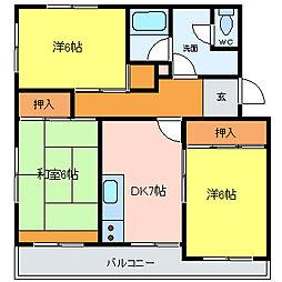 ガーデンハイツ奥田[302号室]の間取り