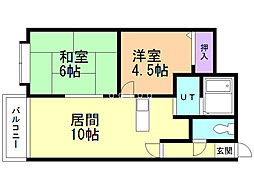 栄町エースマンション 1階2LDKの間取り