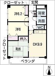 スカイコート黒沢台[4階]の間取り
