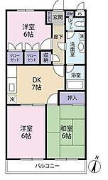埼玉県さいたま市緑区太田窪3丁目の賃貸マンションの間取り