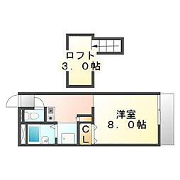広島県福山市曙町6の賃貸アパートの間取り