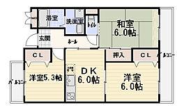 シャトーフルール[3階]の間取り