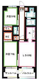 アンソレイユ吉祥寺 3階2LDKの間取り