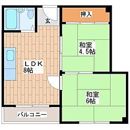 三栄ハイツ舎利寺[302号室]の間取り