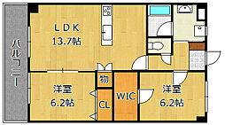 CREWS.ROI Tenjin(クルーズロワ天神)[6階]の間取り