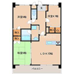 ライオンズマンションマキシム櫛原[5階]の間取り