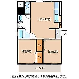 長野県諏訪市大字湖南田辺の賃貸アパートの間取り