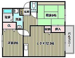 大阪府富田林市五軒家2丁目の賃貸アパートの間取り
