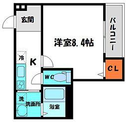 Osaka Metro谷町線 守口駅 徒歩7分の賃貸アパート 1階1Kの間取り