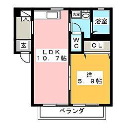 オークス・K A棟[2階]の間取り