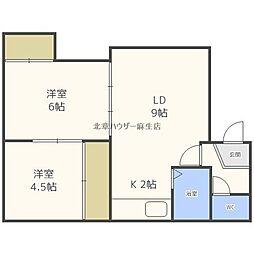 坂井マンション 1階2LDKの間取り