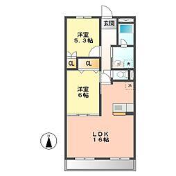 愛知県名古屋市西区こも原町の賃貸マンションの間取り