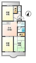 東京都日野市旭が丘1丁目の賃貸マンションの間取り