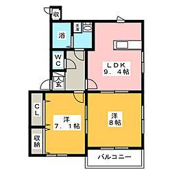 ラ・ドルチェ・ヴィータB[1階]の間取り