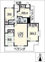 ラウムズ北浜田801[8階]の間取り