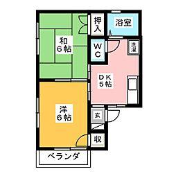 コーポラス飯田B棟[1階]の間取り