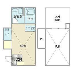 玉川学園5丁目アパート 1階ワンルームの間取り