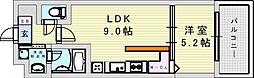 阪急神戸本線 神崎川駅 徒歩10分の賃貸マンション 4階1LDKの間取り