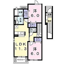 茨城県土浦市神立中央1丁目の賃貸アパートの間取り