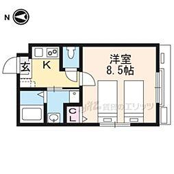 カサブランカ東寺 2階1Kの間取り