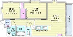 u-ステージ3 3階2LDKの間取り