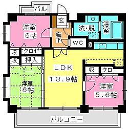 福岡県福岡市早良区室見1丁目の賃貸マンションの間取り