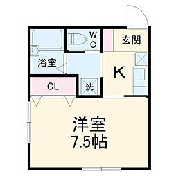 メルヴィーユ新横浜IIB 2階1Kの間取り