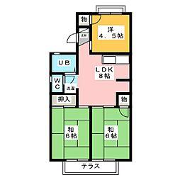 ジュネスマルフク C棟 D棟[1階]の間取り