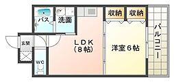 大阪府大阪市平野区加美東4丁目の賃貸マンションの間取り