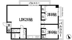 兵庫県西宮市上甲東園1丁目の賃貸マンションの間取り