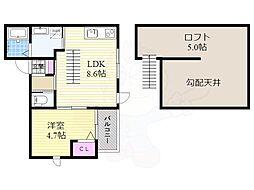 阪急京都本線 上新庄駅 徒歩7分の賃貸アパート 3階1LDKの間取り