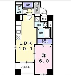 シュバリエ 1階1Kの間取り