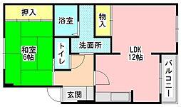 奈良県生駒郡三郷町立野北2丁目の賃貸マンションの間取り