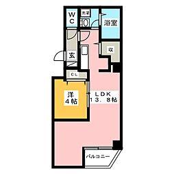 金太郎ヒルズ243松が谷 3階1LDKの間取り