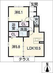 ジャルダン B棟[1階]の間取り