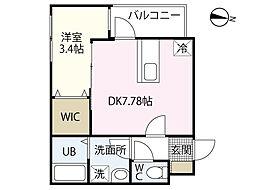 セブンプロート江波二本松2丁目 3階1DKの間取り