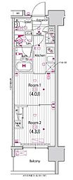 東京メトロ東西線 木場駅 徒歩5分の賃貸マンション 8階2Kの間取り