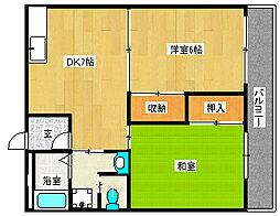横田コーポII[2階]の間取り