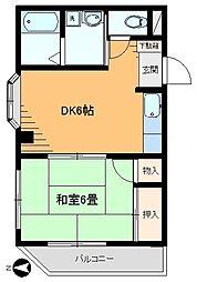浅香コーポ[105号室]の間取り