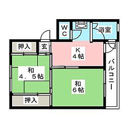 ビレッジハウス笠原1号棟[4階]の間取り